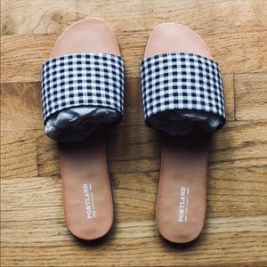 Shoes - Gingham print slip on sandals